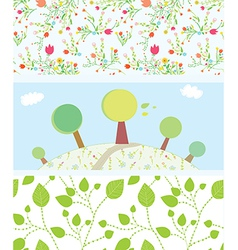 Spring banners with flowers trees leaves patterns vector