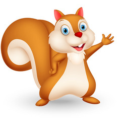 Squirrel cartoon presenting vector