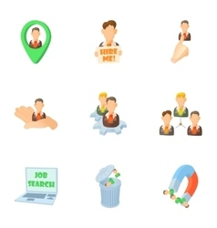 Staffing agency icons set cartoon style vector