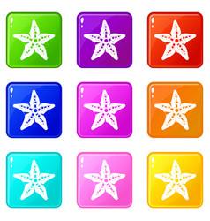 starfish icons 9 set vector image