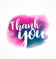 thank you written on hand painted red and blue vector image