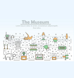 thin line art museum poster banner template vector image
