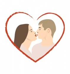two lovers kissng vector image