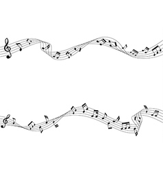 two row of musical notes and chords vector image