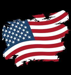 USA flag grunge style on black background Brush vector image