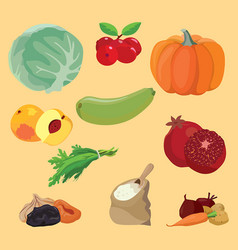Vegetables berries fruits dried fruits greens vector