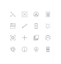 Web linear thin icons set outlined simple icons vector