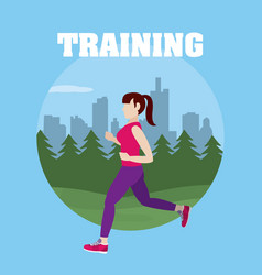 Woman runing training vector