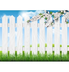 wooden fence spring tree grass vector image