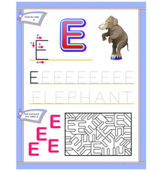 Worksheet for kids with letter e for study vector