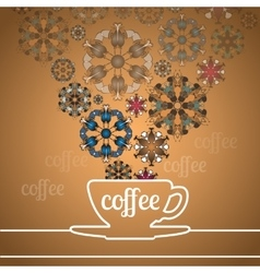 Cup of coffee and abstract flowers on golden vector image