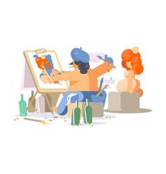 Painter draws naked girl vector