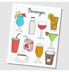 beverages doodles lined paper colored vector image