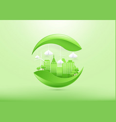 ecology concept with green city and trees vector image