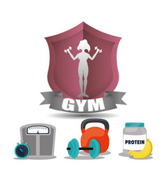 gym woman fitness weight woman label vector image vector image