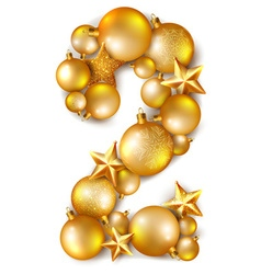 Number 2 made of shiny Christmas tree balls vector image vector image