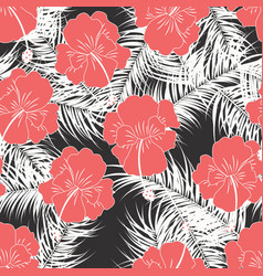 Seamless tropical pattern with white leaves vector