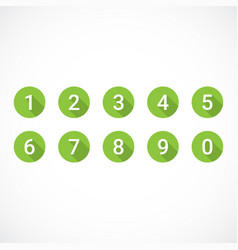set of green number icons vector image
