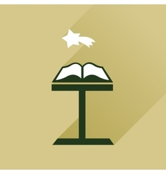Flat icon with long shadow holy bible vector image