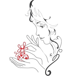 Graphic silhouette girl holds perfume vector image