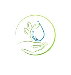 Hand leaf and water drop concept vector image vector image