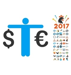 Person compare euro dollar icon with 2017 year vector