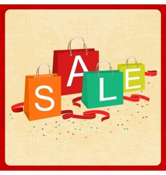 shopping bags and sale text in vintage style vector image