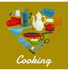 Cooking heart of kitchenware and utensils vector image