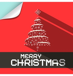 Merry Christmas Flat Design Paper Background vector image