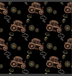 seamless pattern steampunk with old car vector image