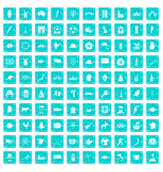 100 map icons set grunge blue vector image
