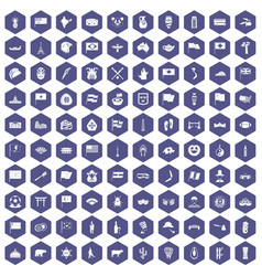 100 national flag icons hexagon purple vector