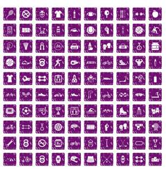 100 sport icons set grunge purple vector