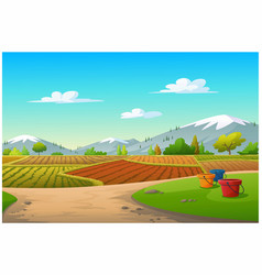 a vegetable plot and mountain in morning vector image