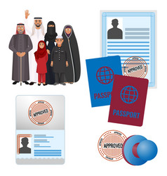 Arabic emigrats with approved by stamp documents vector