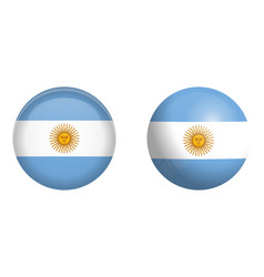 argentine republic flag under 3d dome button and vector image