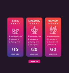 Banner for tariffs set pricing table and boxes vector