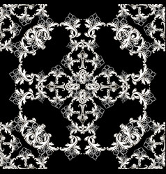 baroque vintage seamless pattern black and white vector image