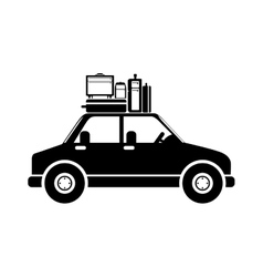 Black silhouette car with baggage vector