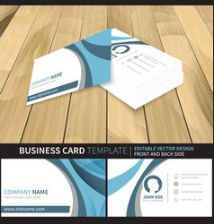 Business card template editable design with front vector