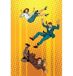 Business man and woman falling down vector image