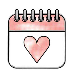 Calendar with heart icon vector