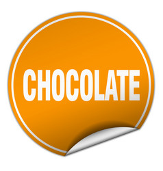 Chocolate round orange sticker isolated on white vector