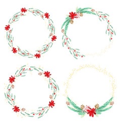 christmas watercolor holly wreath collection vector image