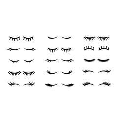 Closed girl eyes and eyelashes various vector