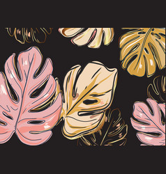 dark background and pink gold monstera leaves vector image