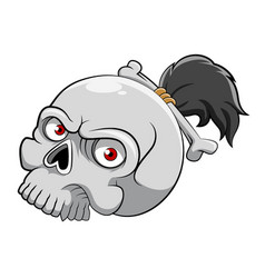 dead skull head with red eyes and a vector image