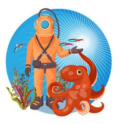 Deep sea diver in pressure suit holds sea devil vector