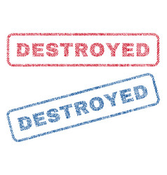 Destroyed textile stamps vector