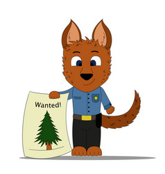 Dog policeman discovers a christmas tree vector